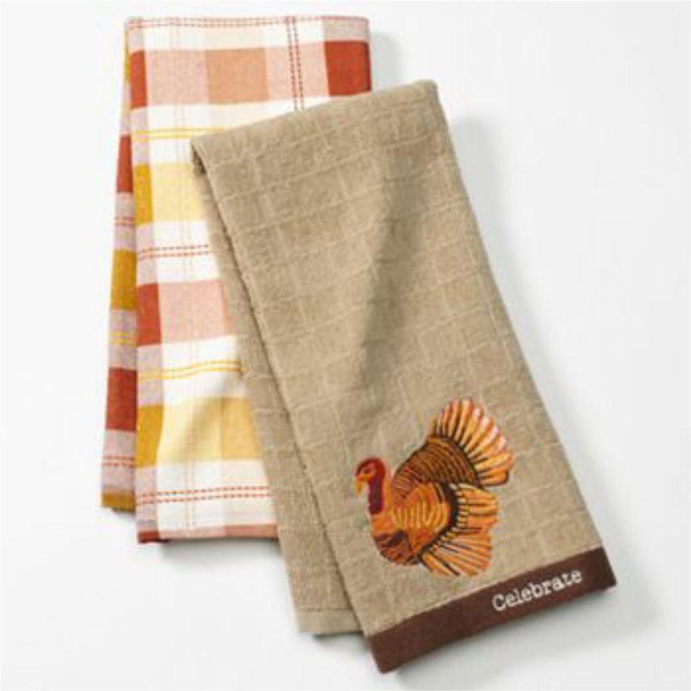 Thanksgiving Kitchen Towels  Set 2 Embroidered Turkey Harvest Windowpane Kitchen Dish
