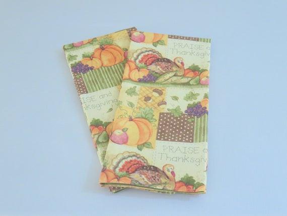 Thanksgiving Kitchen Towels  Thanksgiving Tea Towels Autumn Kitchen Green by