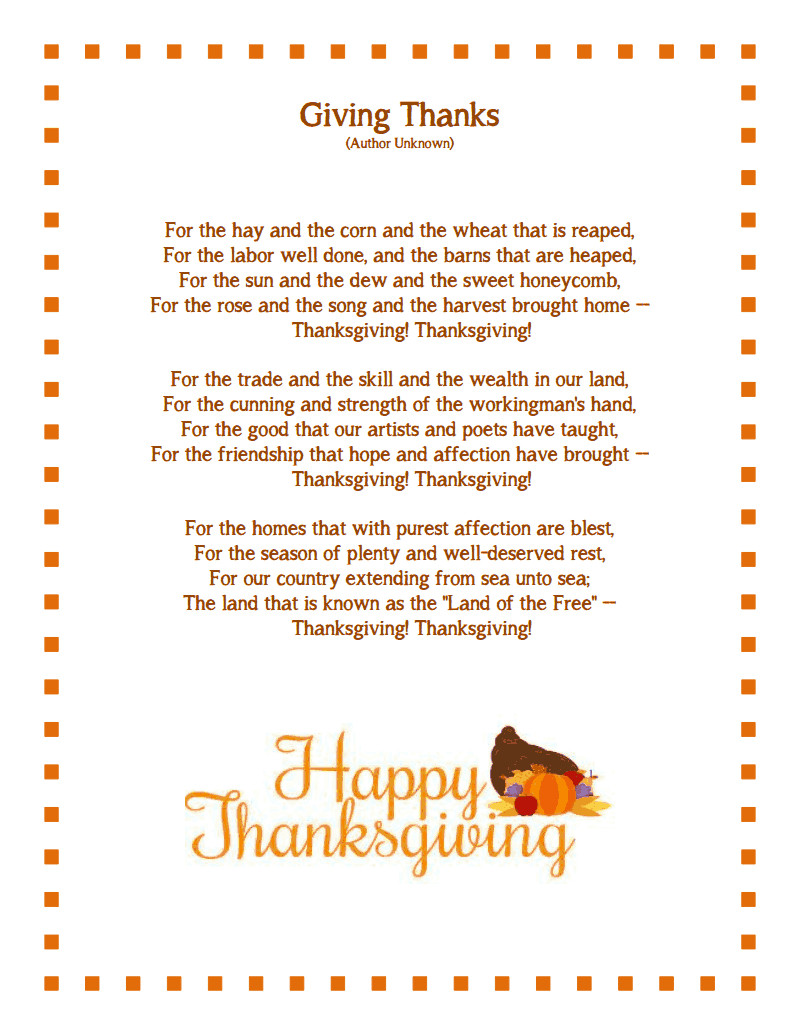 Thanksgiving Poems And Quotes  Thanksgiving Poem Thanksgiving Messages Free Download