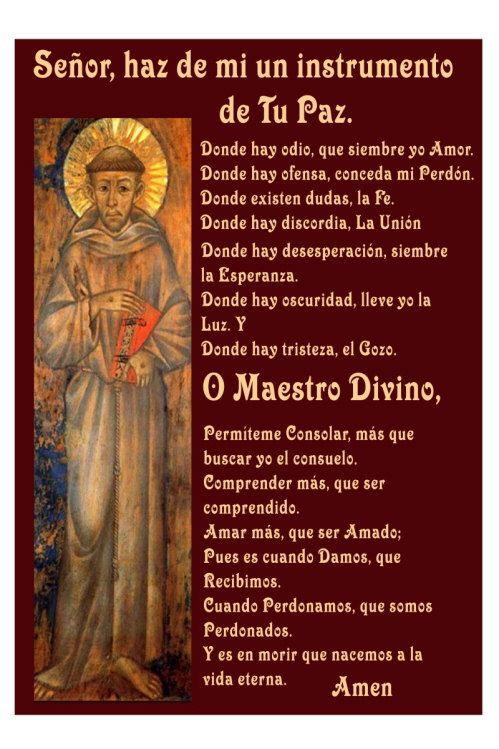 Thanksgiving Quotes In Spanish  Spanish St Frances Prayer Oracion de San Francisco by