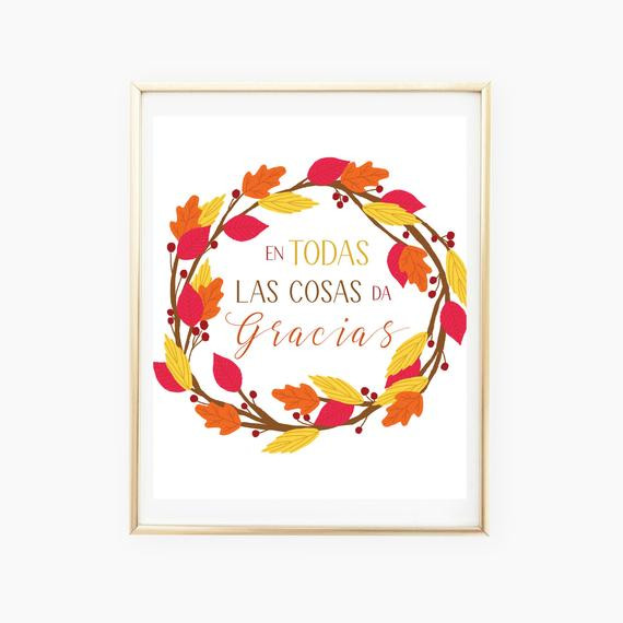 Thanksgiving Quotes In Spanish  Thanksgiving Printable Wall Art Quote Spanish Prints In