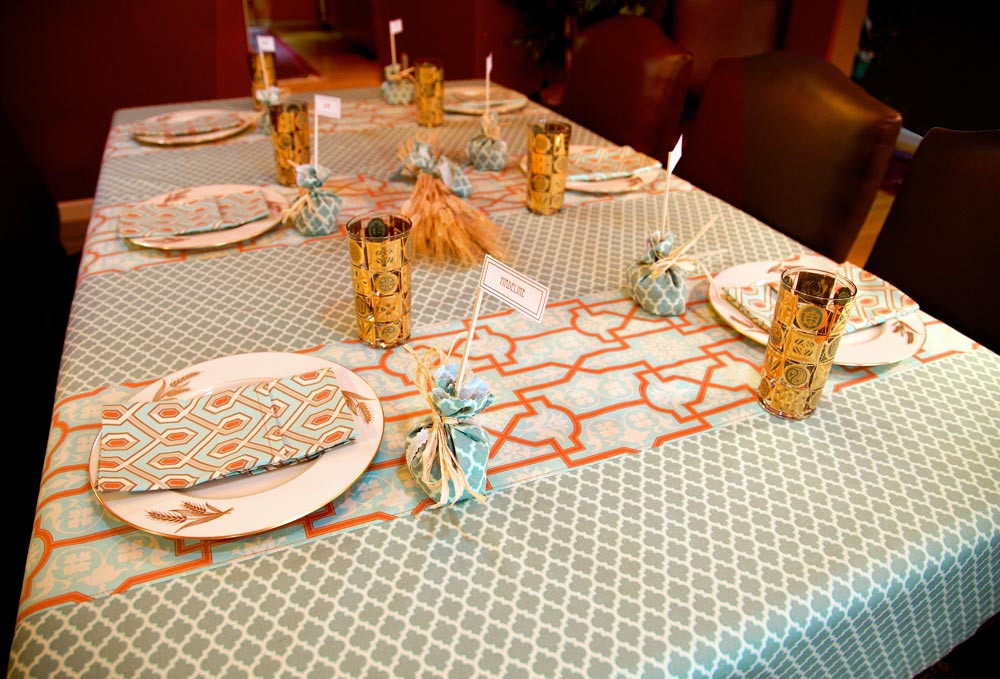 Thanksgiving Table Cloth  Thanksgiving Tablecloth with Arts & Crafts Style Panels