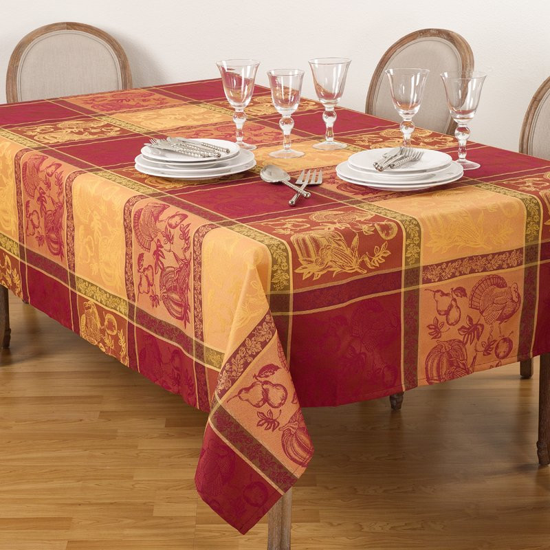 Thanksgiving Table Cloth  The Holiday Aisle Thanksgiving Fall Autumn Design Jacquard