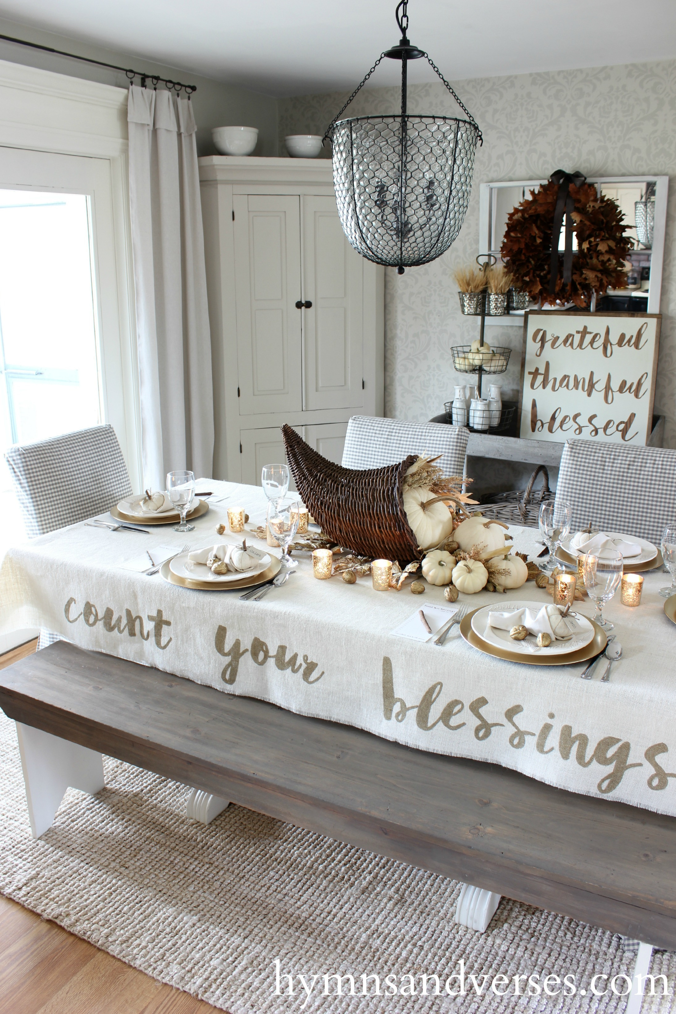 Thanksgiving Table Cloth  Count Your Blessings Thanksgiving Tablecloth Hymns and