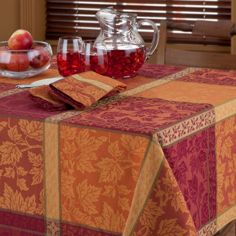 Thanksgiving Table Cloth  MONTVALE AUTUMN HARVEST LEAF JACQUARD PLAID TABLECLOTH