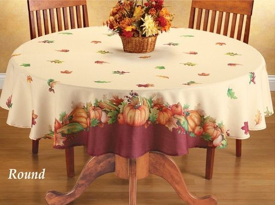 Thanksgiving Table Cloth  Autumn Harvest Leaf Pumpkin Thanksgiving Dining Kitchen