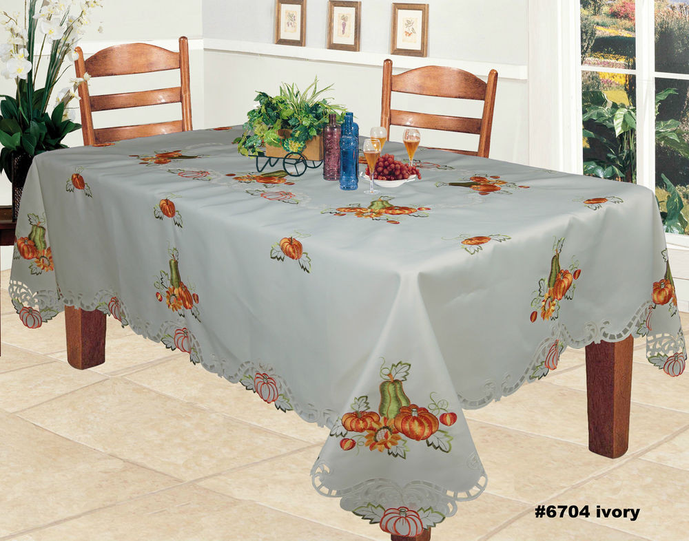 Thanksgiving Table Cloth  Harvest Thanksgiving Embroidered Pumpkin Sunflower