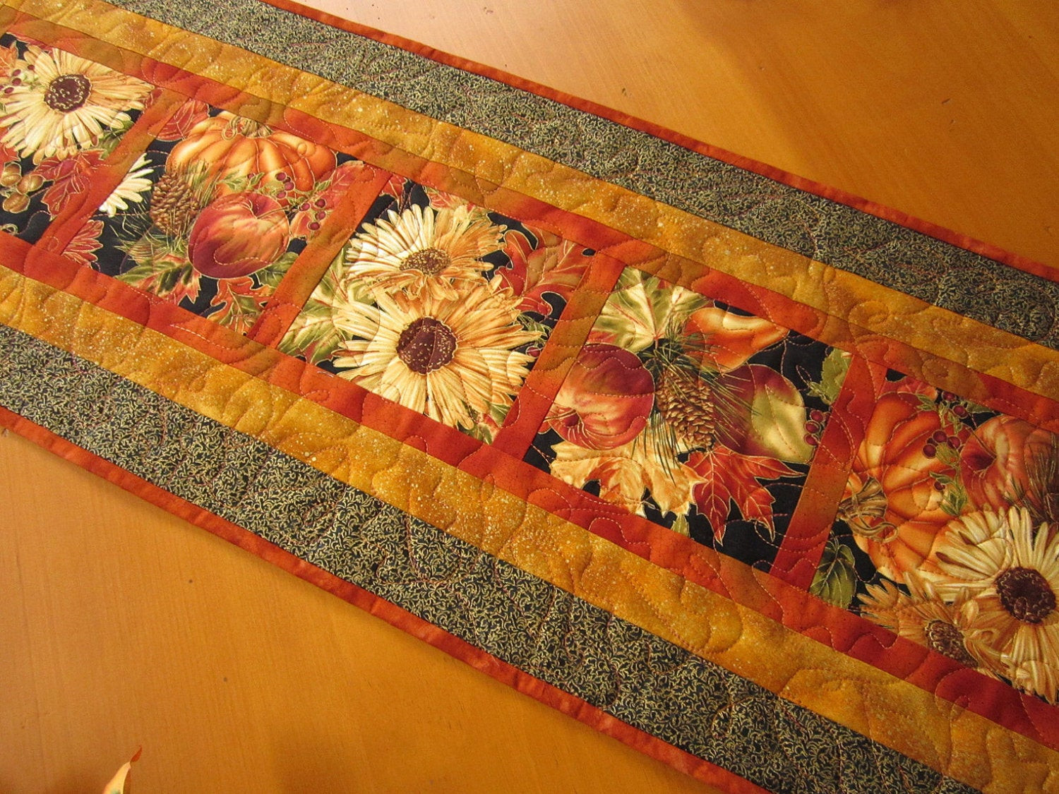 Thanksgiving Table Runner  Thanksgiving Table Runner Fall Harvest by PatchworkMountain