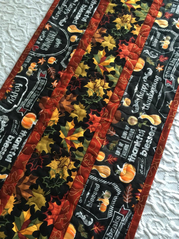 Thanksgiving Table Runner  Thanksgiving Table Runner Quilt Fall Autumn Quilt Black