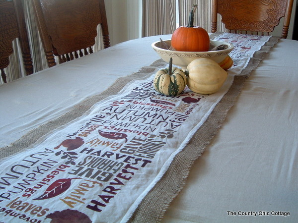 Thanksgiving Table Runner  Subway Art Burlap Table Runner Point of View The