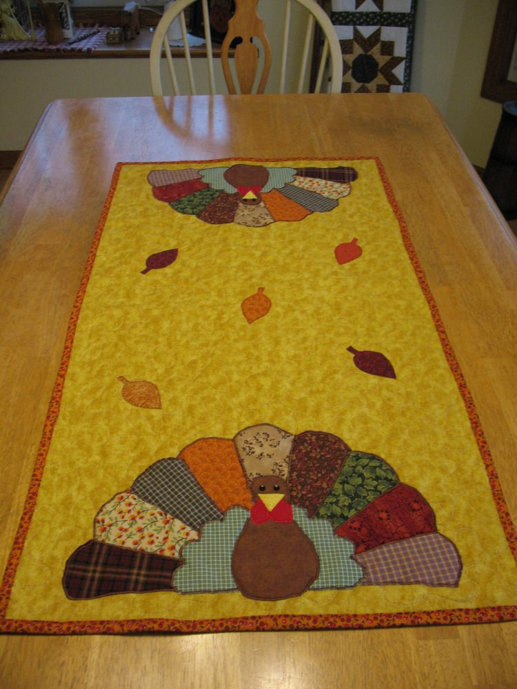 Thanksgiving Table Runner  Appliqued Quilted Turkey Table Runner for Thanksgiving or Fall