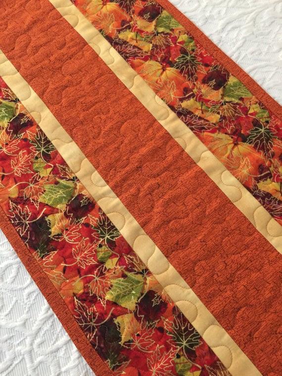 Thanksgiving Table Runner  Fall Thanksgiving Table Runner Quilt Leaves Topper Fall