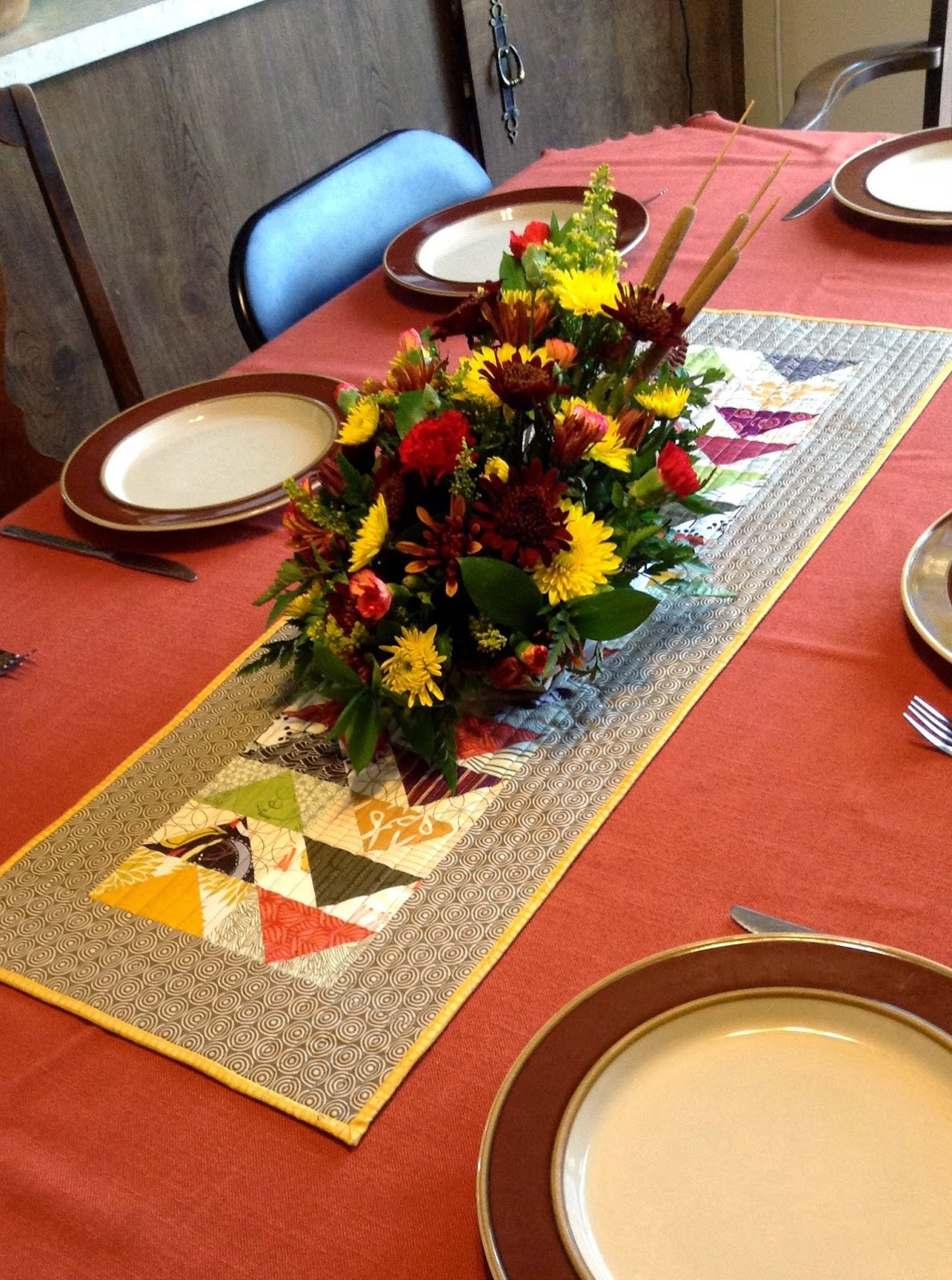 Thanksgiving Table Runner  peace love quilt Thanksgiving Table Runner