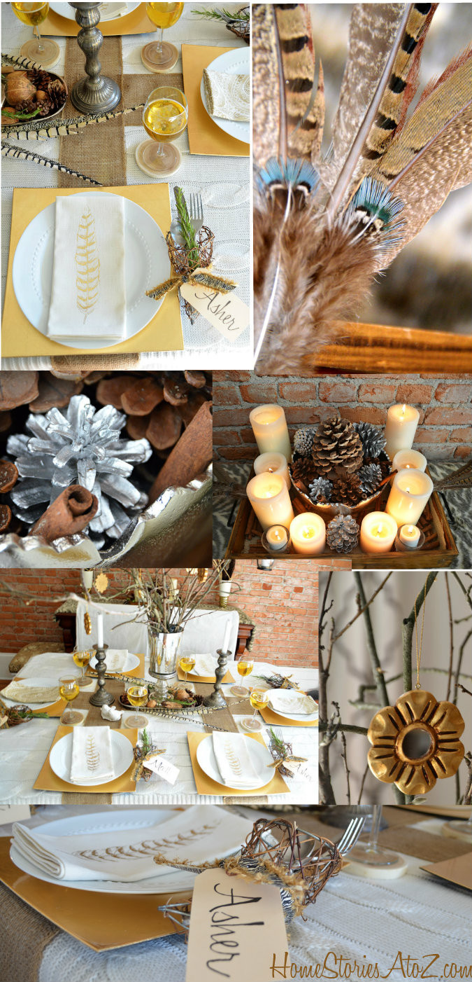Thanksgiving Table Settings  Natural Elements and Metallic Tablescape