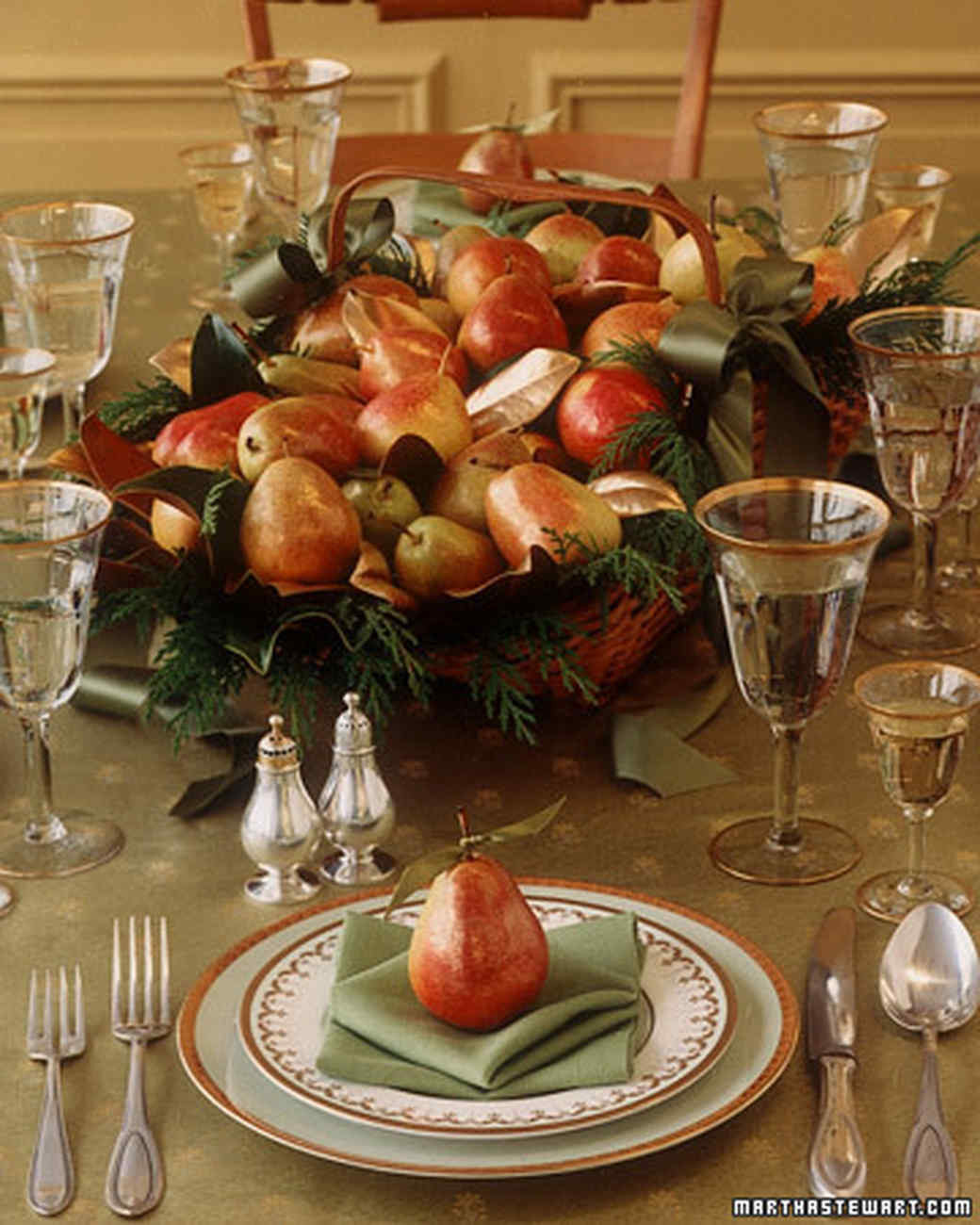 Thanksgiving Table Settings Martha Stewart  Holiday Centerpiece Gilded Pear Basket