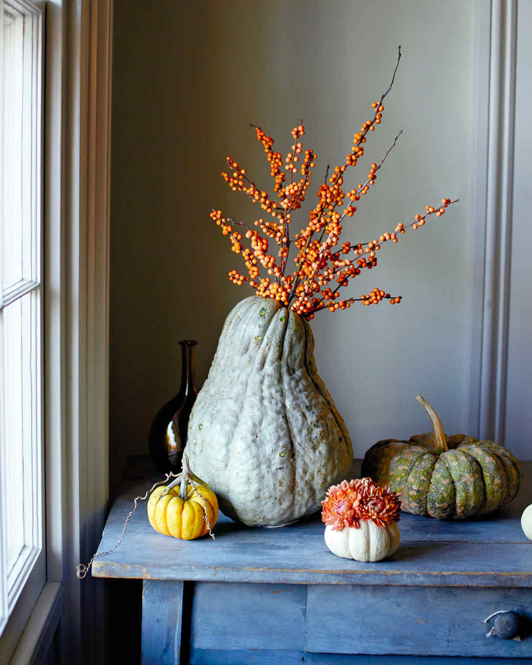 Thanksgiving Table Settings Martha Stewart  How to Make Squash and Pumpkin Flower Arrangements
