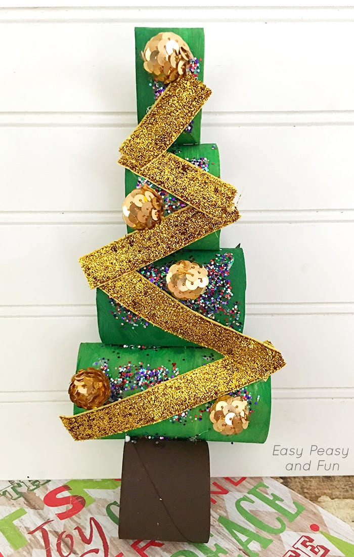 Toilet Paper Christmas Crafts  Paper Roll Christmas Tree Craft Easy Peasy and Fun