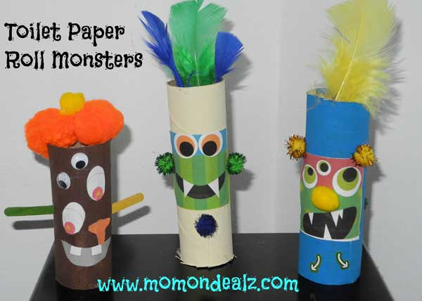 Toilet Paper Roll Halloween Craft  Halloween Crafts for Kids Toilet Paper Roll Monsters