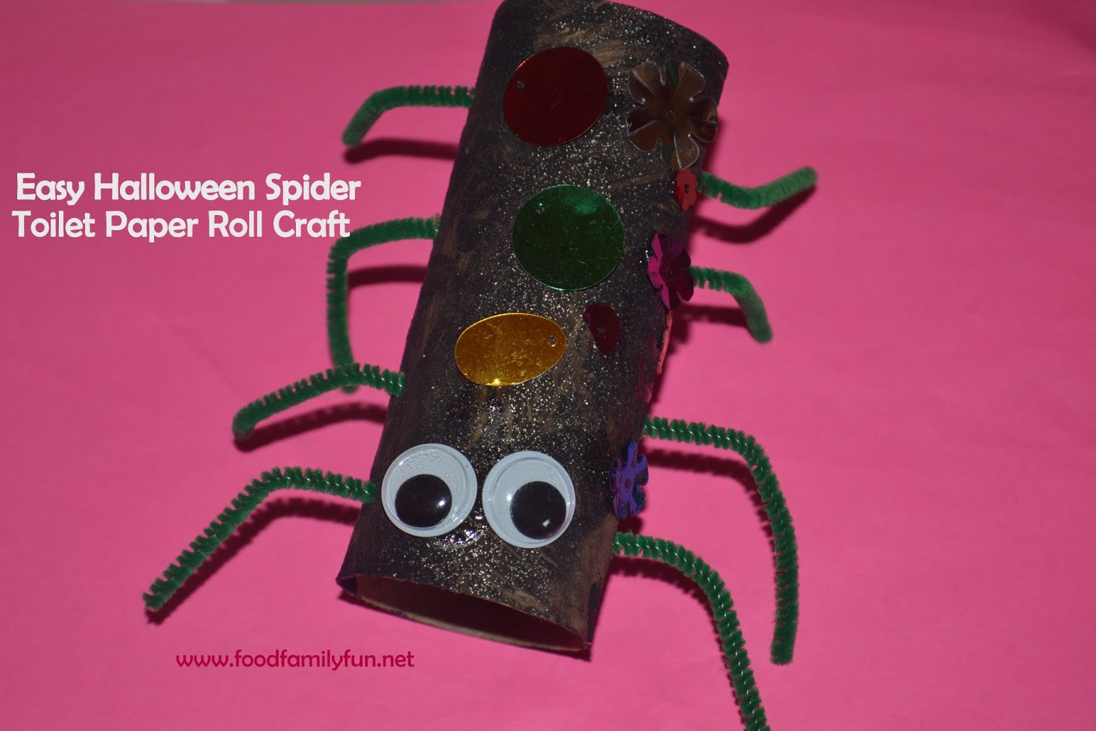Toilet Paper Roll Halloween Craft  Food Family Fun Halloween Toilet Paper Roll Spider Craft