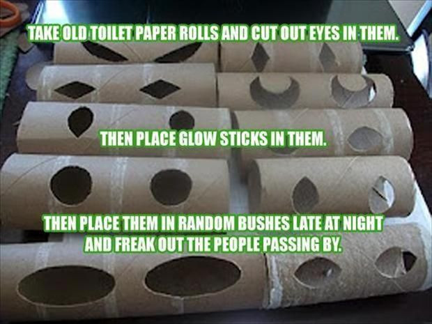 Toilet Paper Roll Halloween Eyes  Glowing toilet paper rolls with eyes