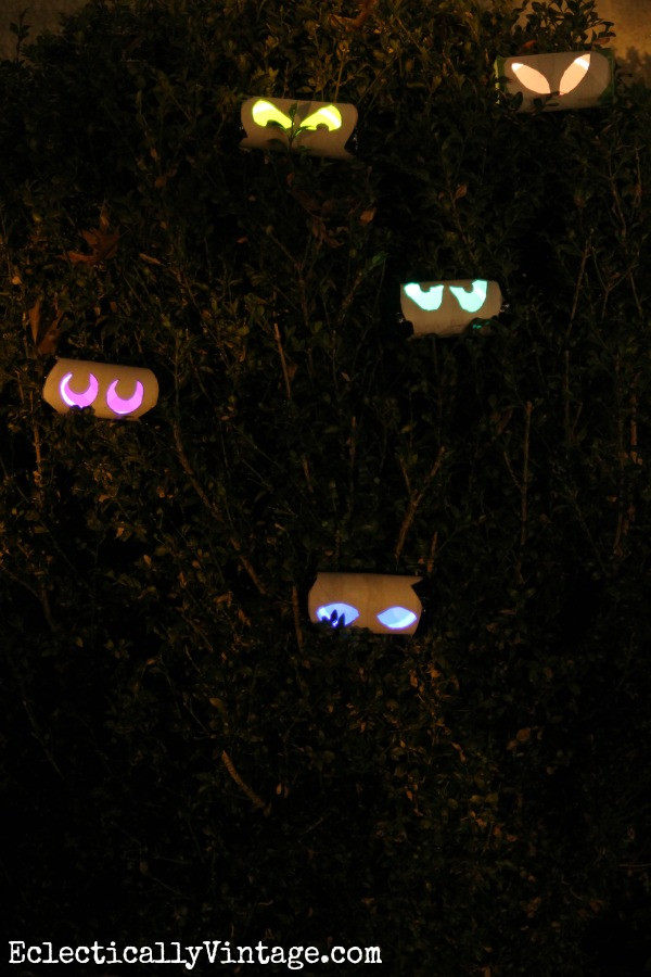 Toilet Paper Roll Halloween Eyes  How to Make Glow Stick Eyes at Eclectically Vintage