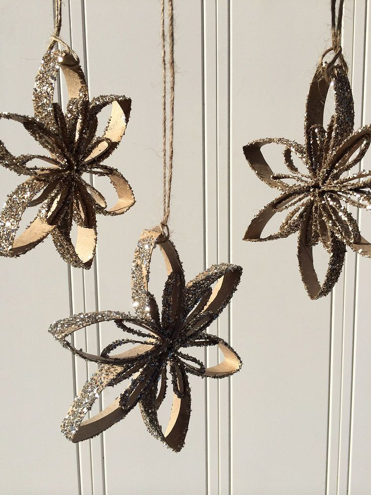 Toilet Paper Tube Christmas Crafts  Upcycled Toilet Paper Tube Snowflake Ornaments Hometalk
