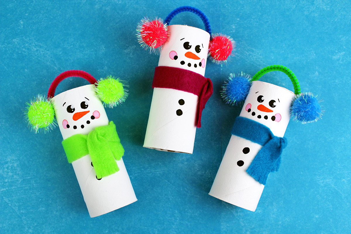 Toilet Paper Tube Christmas Crafts  Recycled Toilet Paper Tube Christmas Snowmen Craft