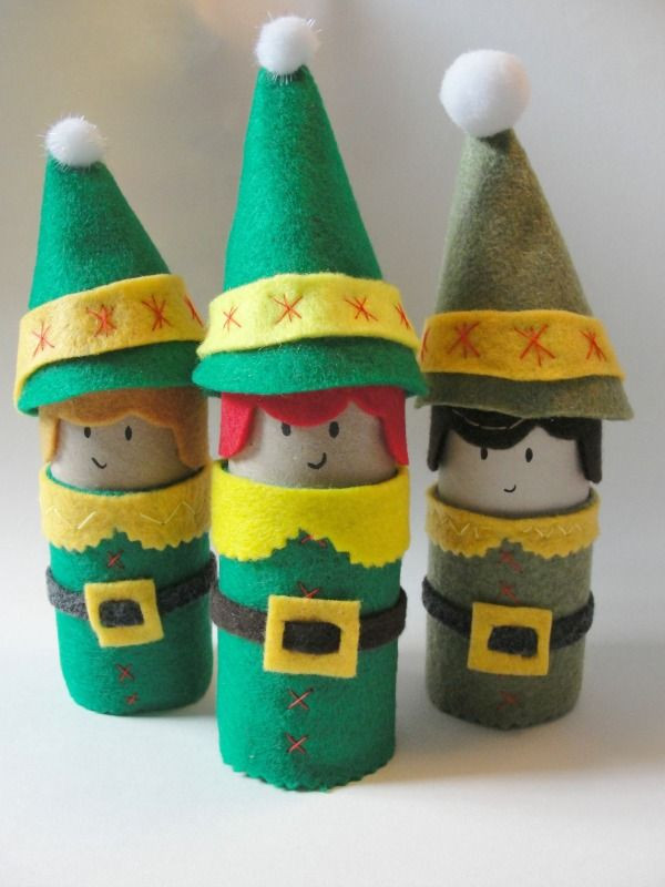 Toilet Paper Tube Christmas Crafts  Christmas Elf Craft Made From Toilet Paper Rolls