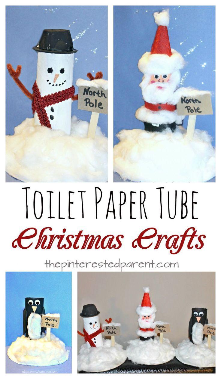 Toilet Paper Tube Christmas Crafts  toilet paper tube snowman Santa penguin at the North