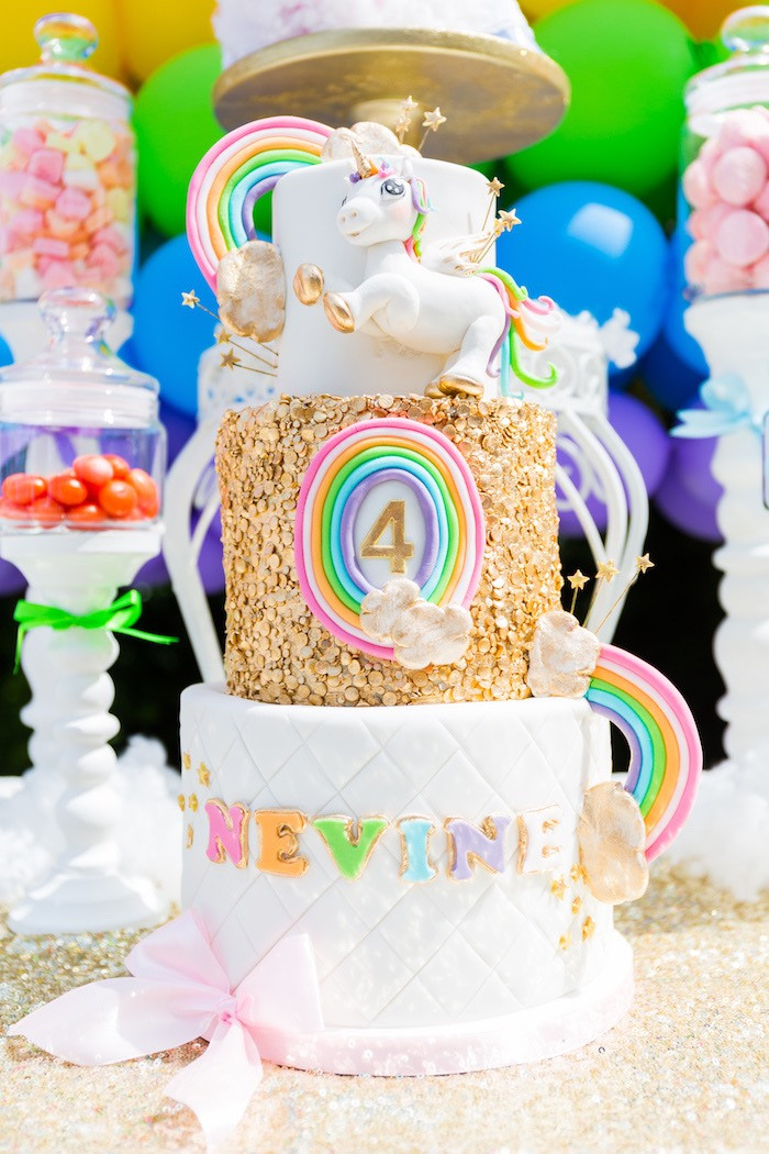 Unicorn And Rainbow Birthday Party Ideas  Kara s Party Ideas Gold Rainbow Unicorn Birthday Party
