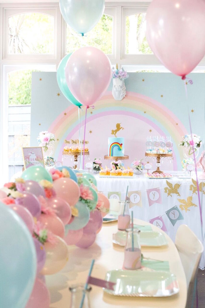 Unicorn And Rainbow Birthday Party Ideas  Kara s Party Ideas Floral Rainbow Glam Unicorn Birthday