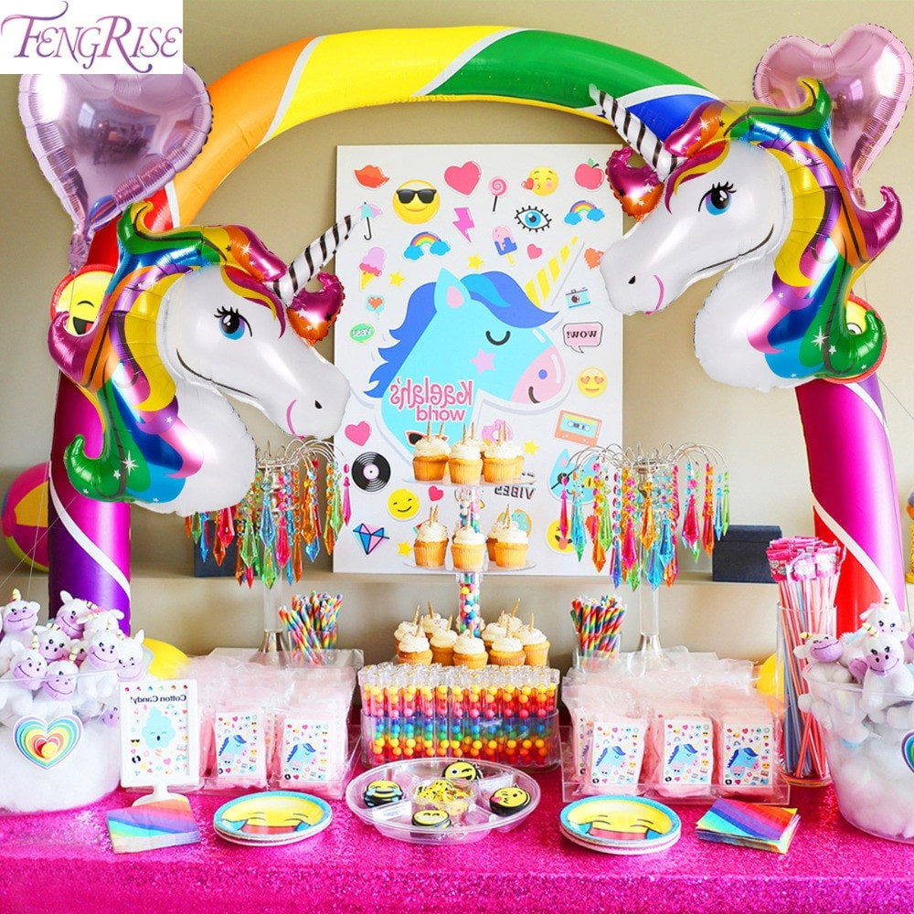 Unicorn And Rainbow Birthday Party Ideas  FENGRISE Rainbow Unicorn Party Decoration Aluminum Star