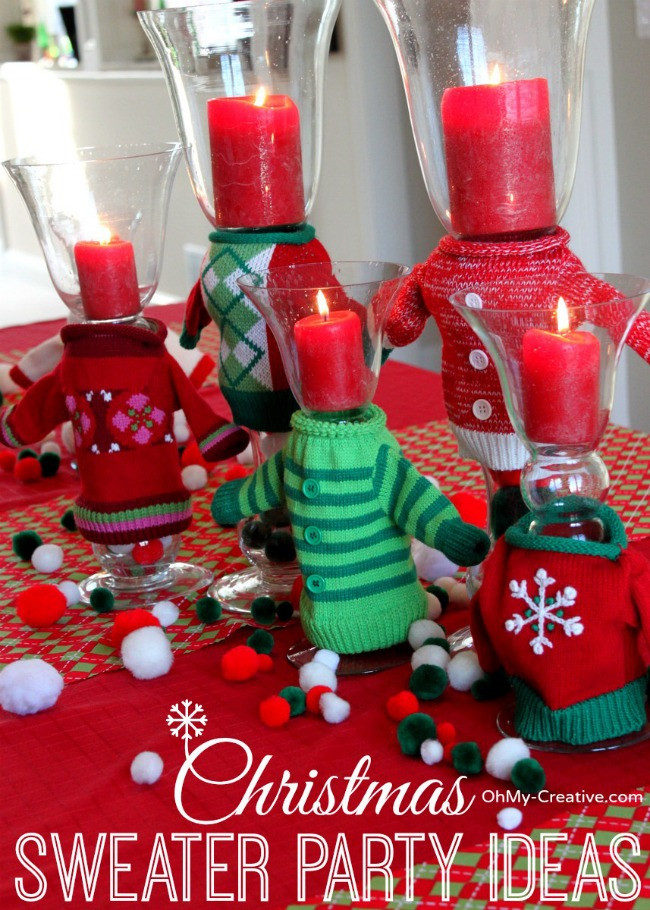 Unique Christmas Party Ideas  Ugly Christmas Sweater Party Wine Glasses Oh My Creative