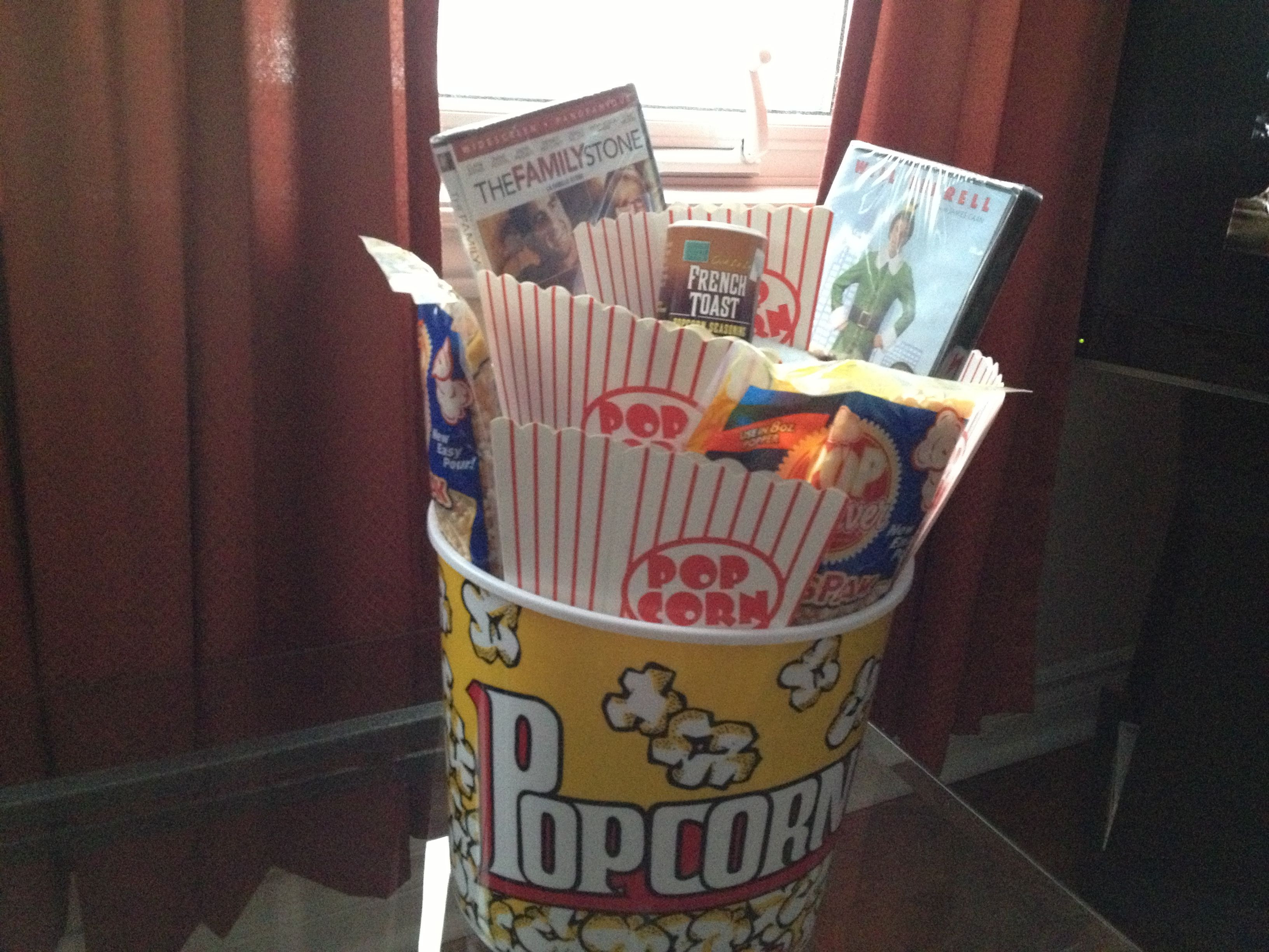 Unisex Holiday Gift Ideas  Christmas movie themed t basket A bucket of popcorn