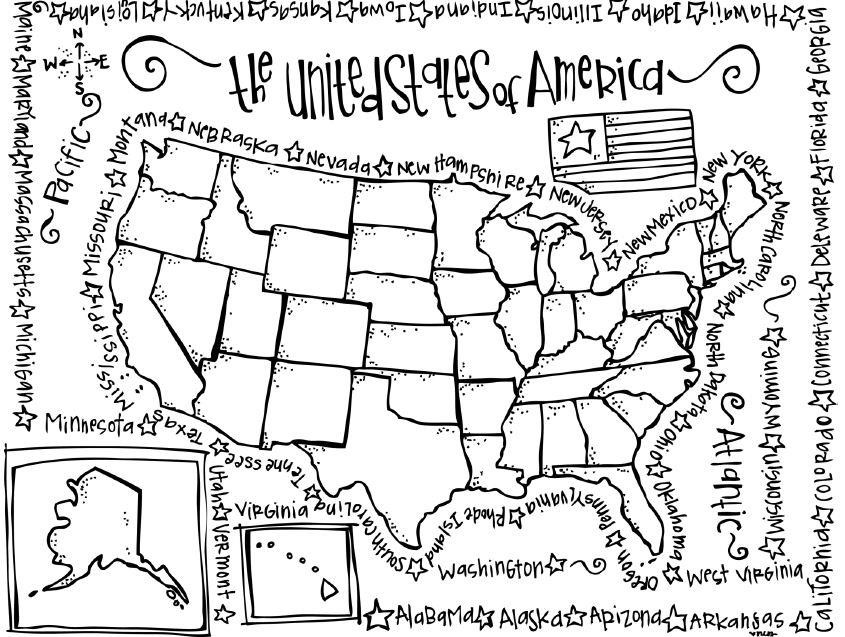 United States Coloring Pages For Kids  Coloring Pages United States Map Coloring Home