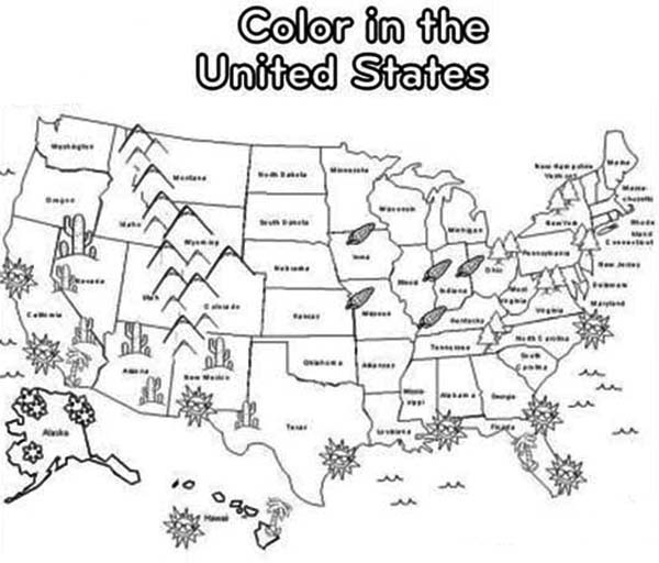 United States Coloring Pages For Kids  Daily Coloring Pages United States Map EBook Database