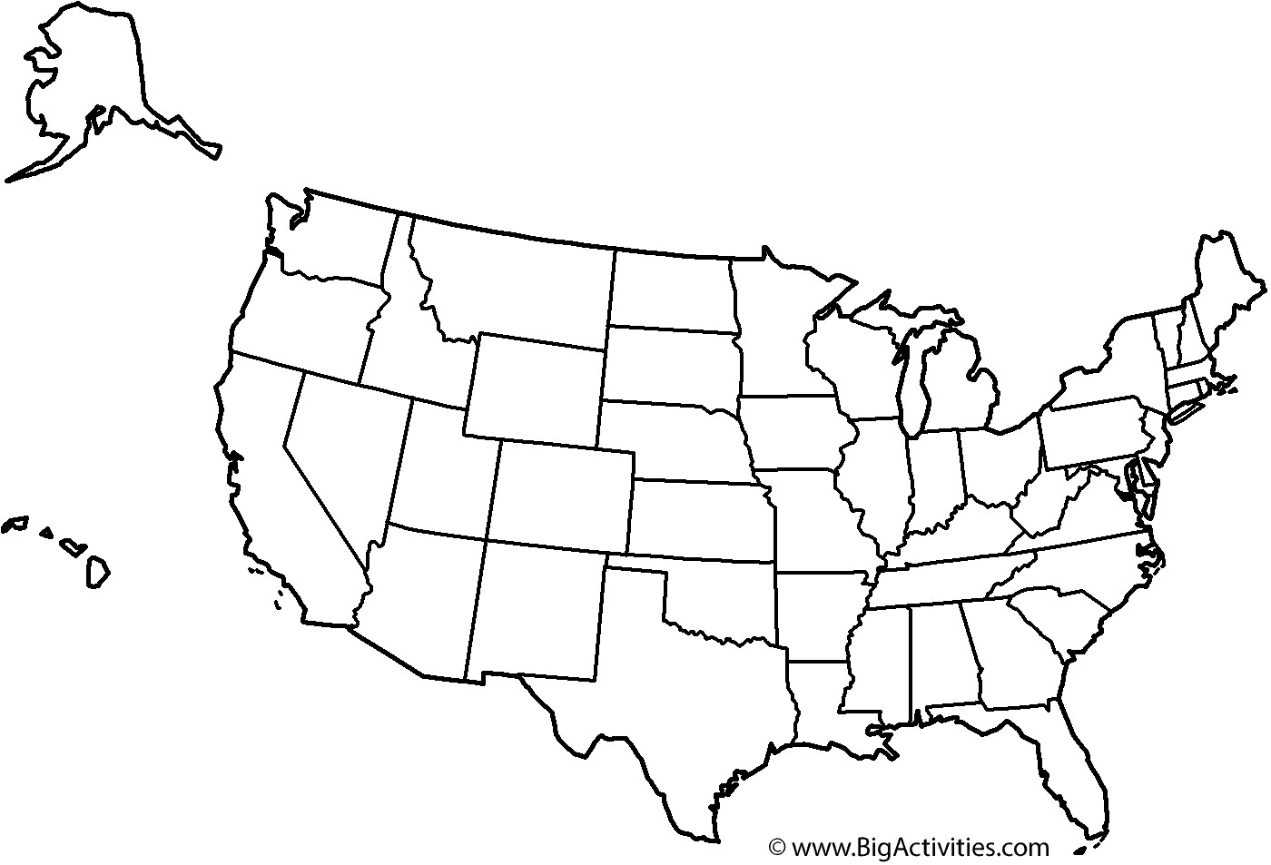 United States Coloring Pages For Kids  Map of the United States with theme and states Coloring