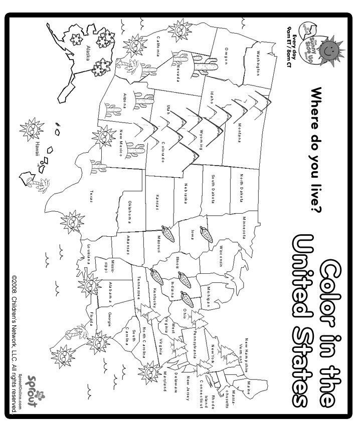 United States Coloring Pages For Kids  Print and Color US Map Coloring Page