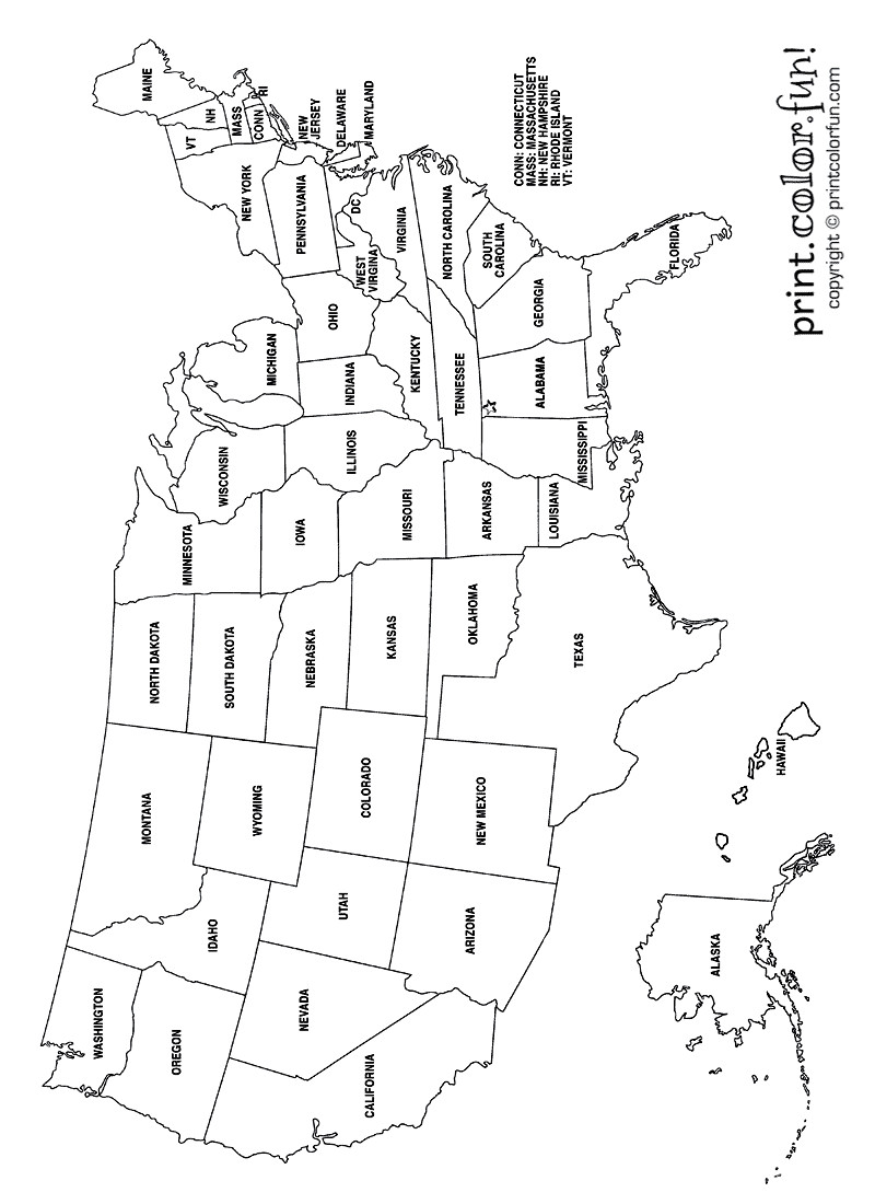 United States Coloring Pages For Kids  USA Coloring Page Labeled with States Names from Print