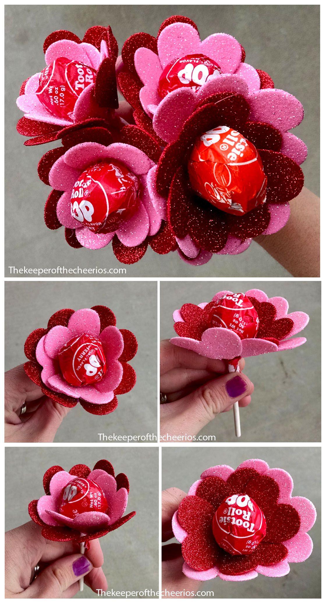 Valentines Gift Ideas Pinterest  Flower Heart Valentine Suckers