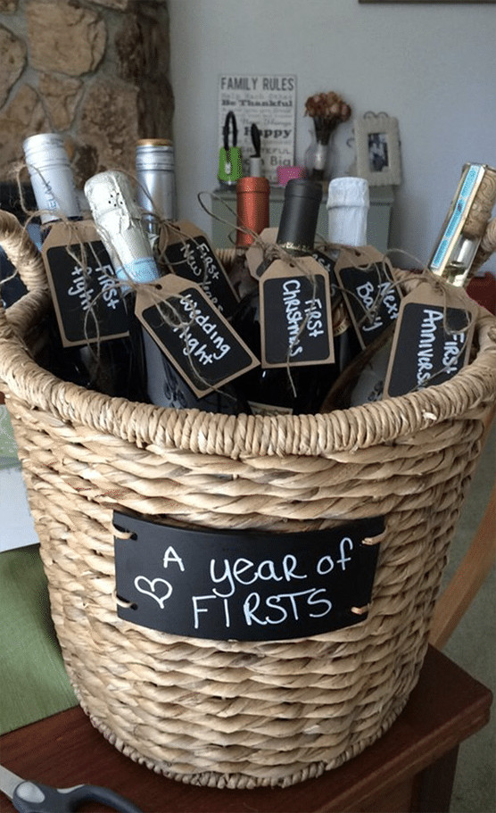 Wedding Gift Ideas For Outdoorsy Couple  DIY Wedding Gift A Year of Firsts Wedding Gift Basket