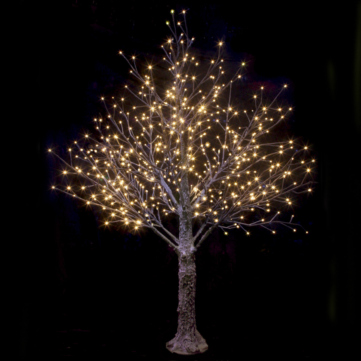White Indoor Christmas Lights  Brown Snowy Twig Tree Warm White LED Lights Christmas