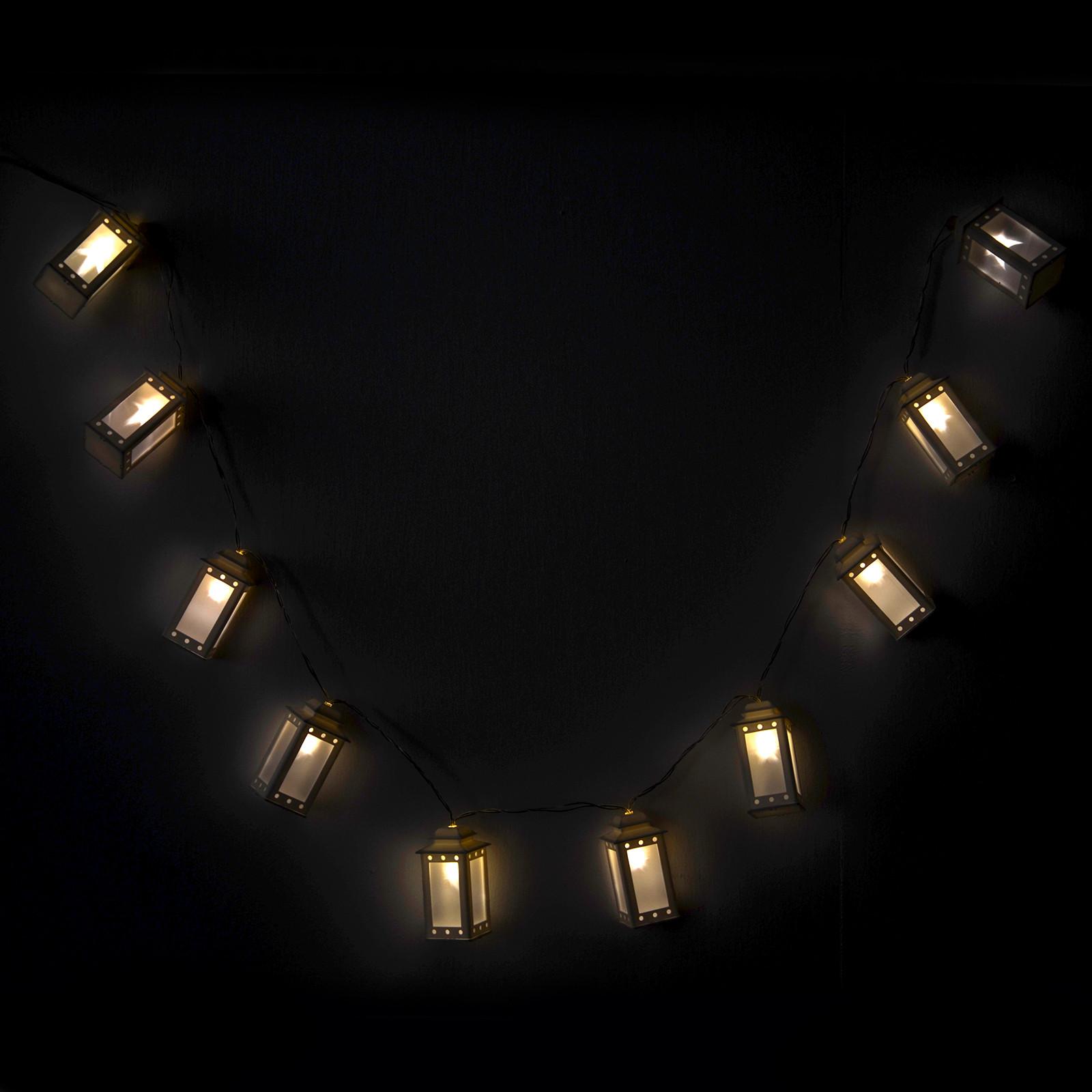 White Indoor Christmas Lights  String 10 White Mini Lantern Lights Chain Warm White
