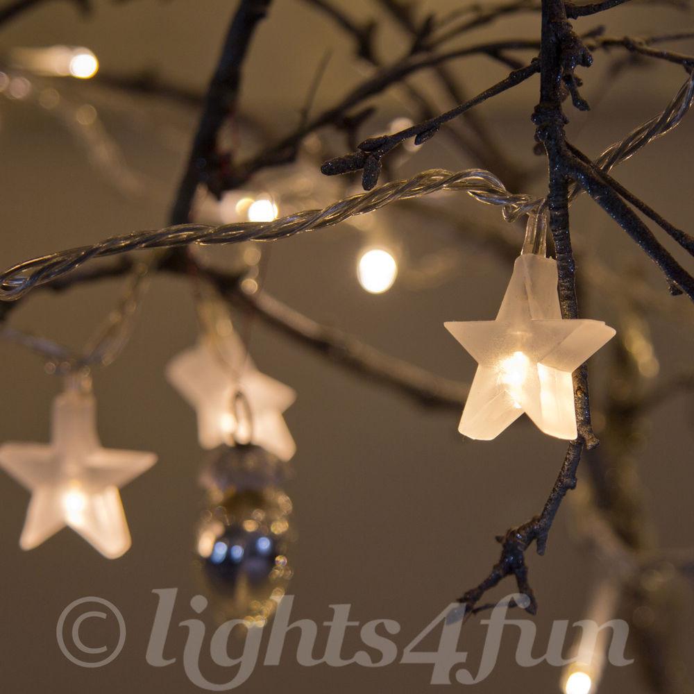 White Indoor Christmas Lights  Star Fairy Lights 30 Warm White LED Indoor Bedroom