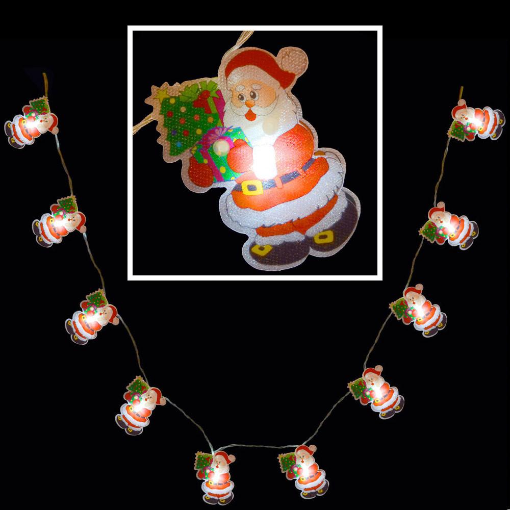 White Indoor Christmas Lights  10 White LED Santa PVC Fairy Lights Indoor Battery