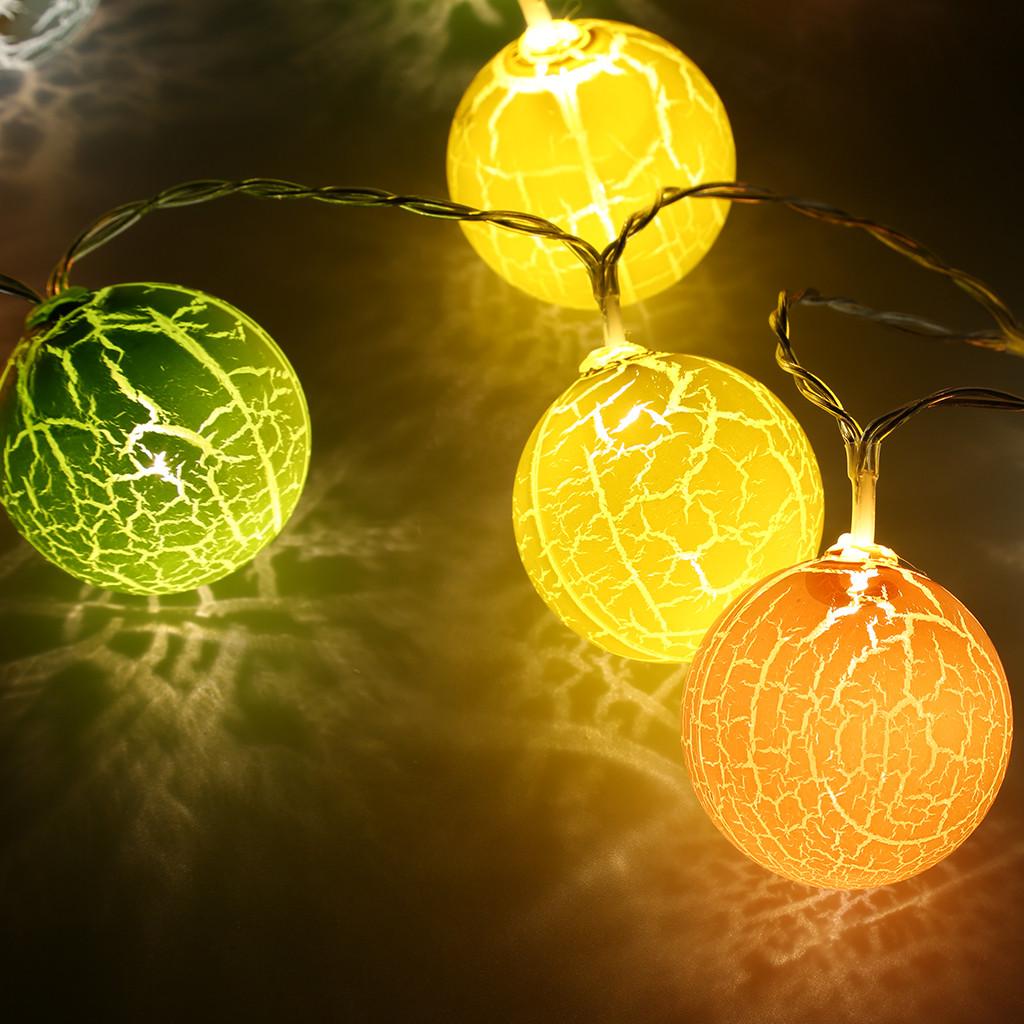 White Indoor Christmas Lights  Finether 1 2M 10LED Crackled Ball String Light Warm White