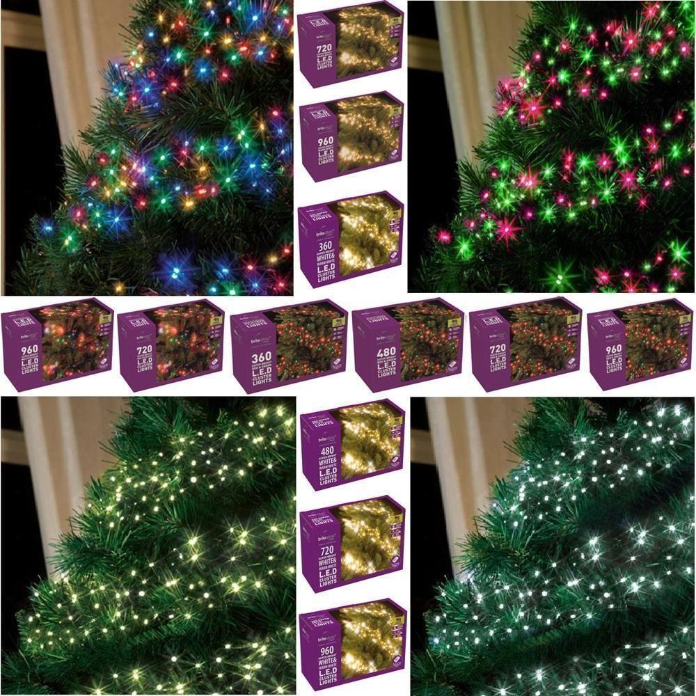 White Indoor Christmas Lights  WHITE & WARM WHITE LED CLUSTER LIGHTS CHRISTMAS TREE LAMP