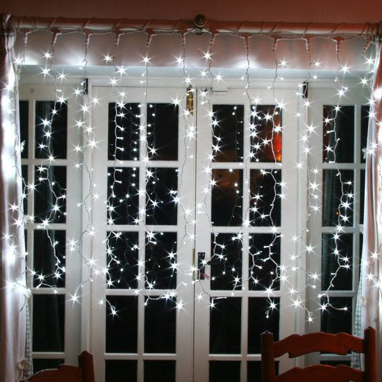 White Indoor Christmas Lights  500 White LED Indoor Curtain Light Connectable & 2m X 2