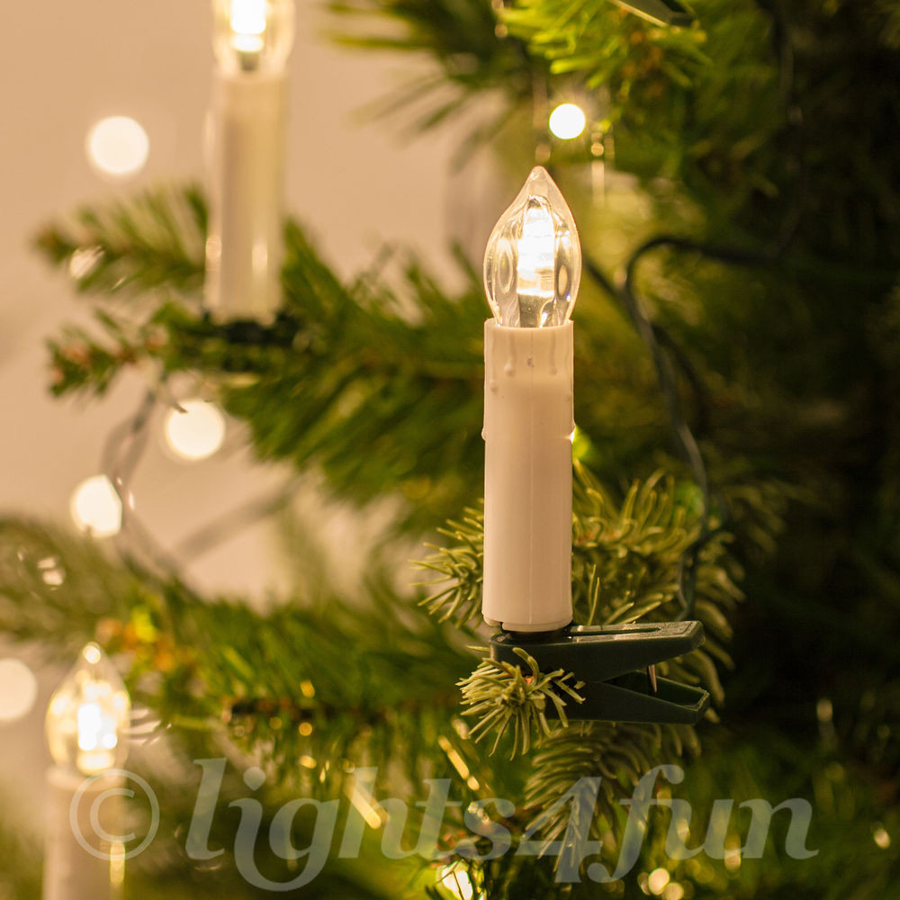 White Indoor Christmas Lights  20 Warm White LED Clip Candle Christmas Tree Indoor