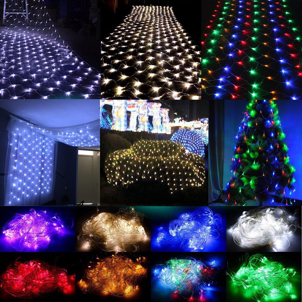White Indoor Christmas Lights  White 3Mx2M 204 LED Net Mesh Lights Fairy Christmas Tree